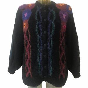 JUDITH HARRISON Grandma Fuzzy Floral Wool Cardigan